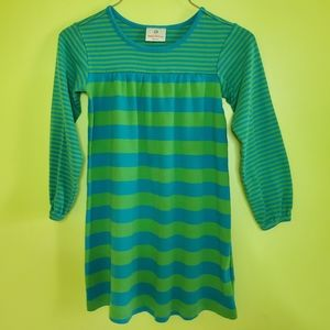 Hanna Andersson striped blue green dress size 5/6